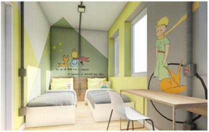 Projeto de quarto com adesivo