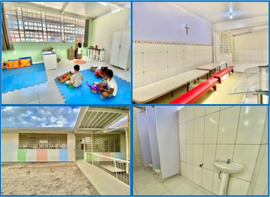 Sala de aula, refeitório, pátio e banheiro